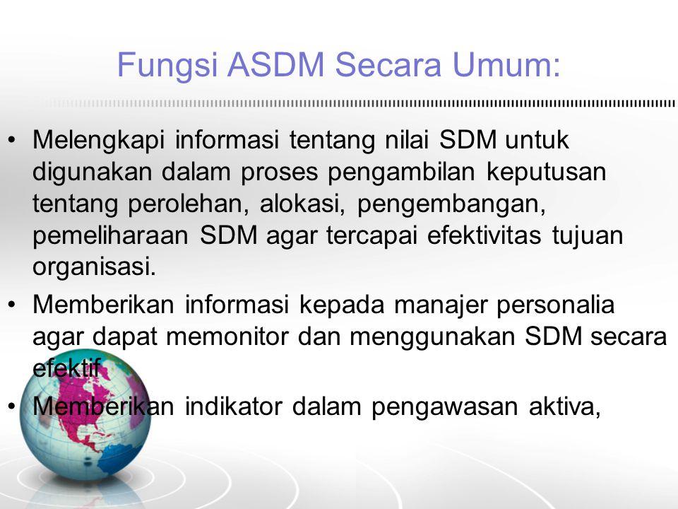 Fungsi ASDM Secara Umum: Melengkapi informasi tentang nilai SDM untuk digunakan dalam proses pengambilan keputusan tentang perolehan, alokasi, pengemb