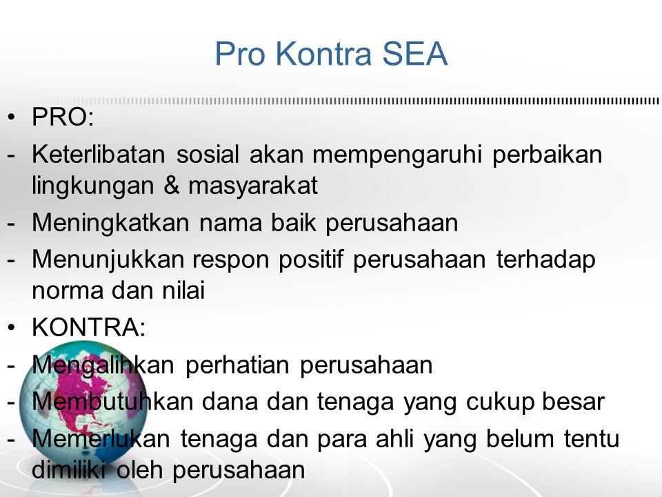 Pro Kontra SEA PRO: -Keterlibatan sosial akan mempengaruhi perbaikan lingkungan & masyarakat -Meningkatkan nama baik perusahaan -Menunjukkan respon po