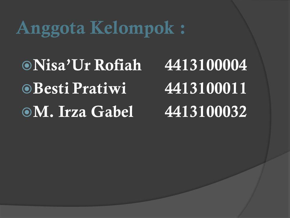 Anggota Kelompok :  Nisa'Ur Rofiah4413100004  Besti Pratiwi4413100011  M. Irza Gabel4413100032