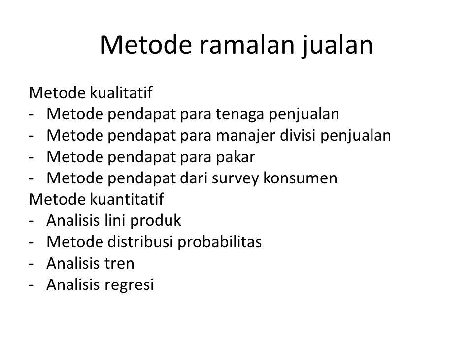 Metode ramalan jualan Metode kualitatif -Metode pendapat para tenaga penjualan -Metode pendapat para manajer divisi penjualan -Metode pendapat para pa