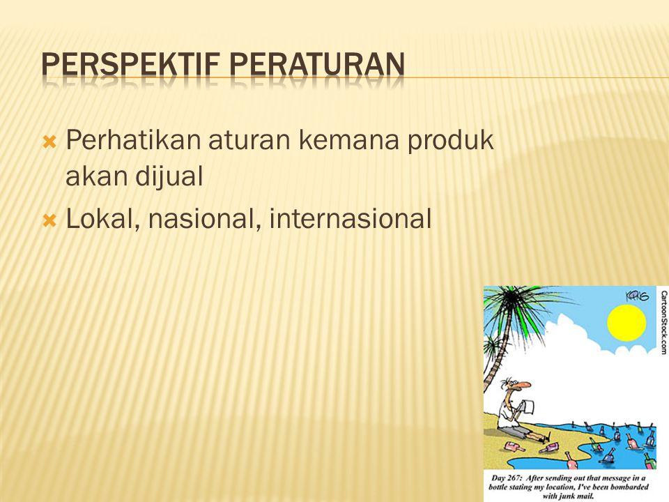  Perhatikan aturan kemana produk akan dijual  Lokal, nasional, internasional