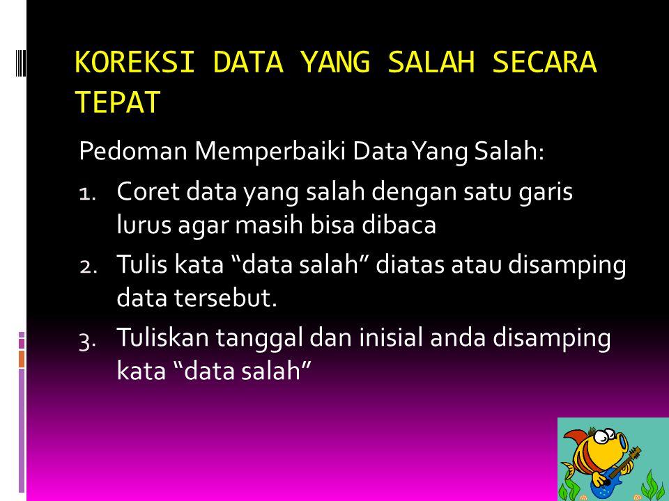 KOREKSI DATA YANG SALAH SECARA TEPAT Pedoman Memperbaiki Data Yang Salah: 1. Coret data yang salah dengan satu garis lurus agar masih bisa dibaca 2. T
