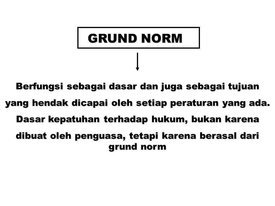 GRUND NORM Berfungsi sebagai dasar dan juga sebagai tujuan yang hendak dicapai oleh setiap peraturan yang ada.