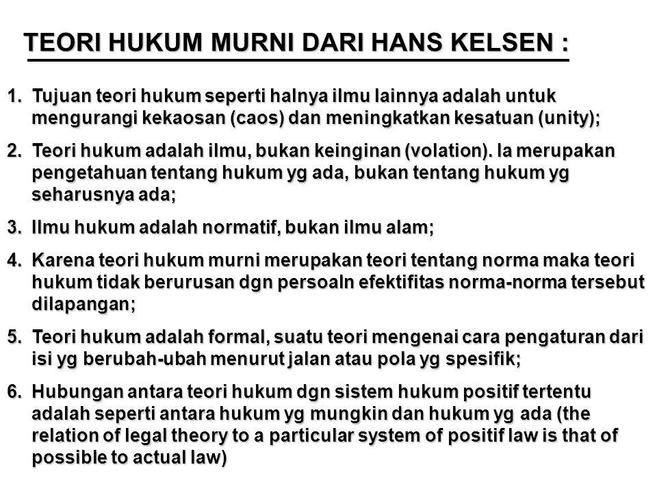 TEORI HUKUM MURNI DARI HANS KELSEN : 1.Tujuan teori hukum seperti halnya ilmu lainnya adalah untuk mengurangi kekaosan (caos) dan meningkatkan kesatuan (unity); 2.Teori hukum adalah ilmu, bukan keinginan (volation).