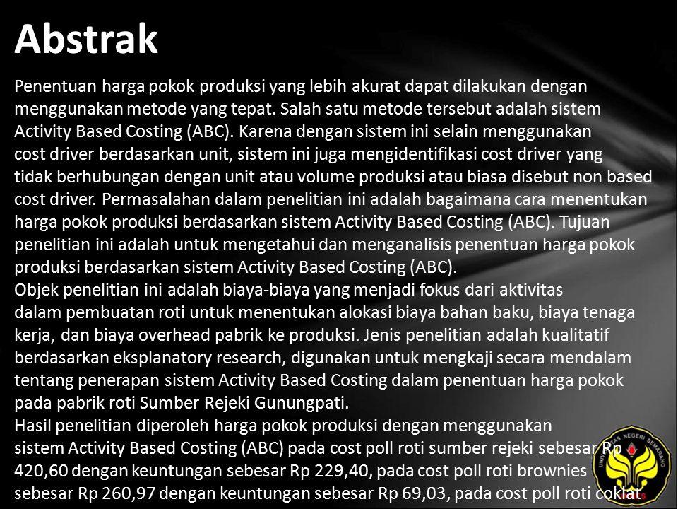 Kata Kunci Biaya Bahan Baku (BBB), Biaya Tenaga Kerja (BTK), Biaya Overhead Pabrik (BOP)