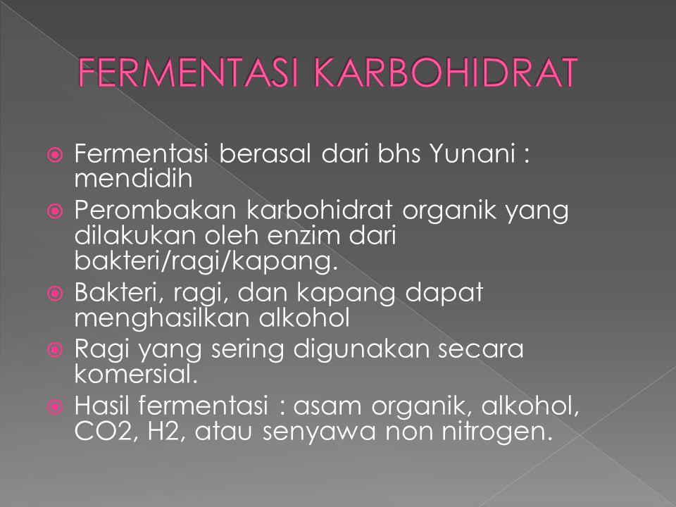  Fermentasi berasal dari bhs Yunani : mendidih  Perombakan karbohidrat organik yang dilakukan oleh enzim dari bakteri/ragi/kapang.  Bakteri, ragi,