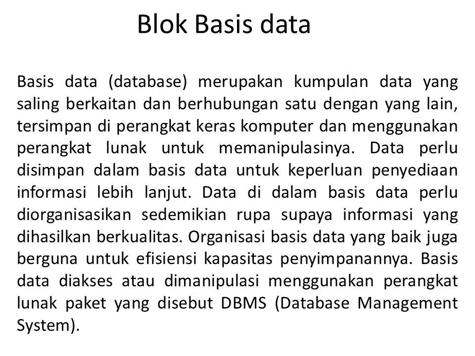 Blok Basis data Basis data (database) merupakan kumpulan data yang saling berkaitan dan berhubungan satu dengan yang lain, tersimpan di perangkat kera