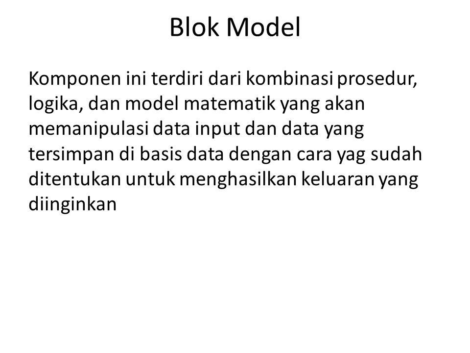 Blok Model Komponen ini terdiri dari kombinasi prosedur, logika, dan model matematik yang akan memanipulasi data input dan data yang tersimpan di basi