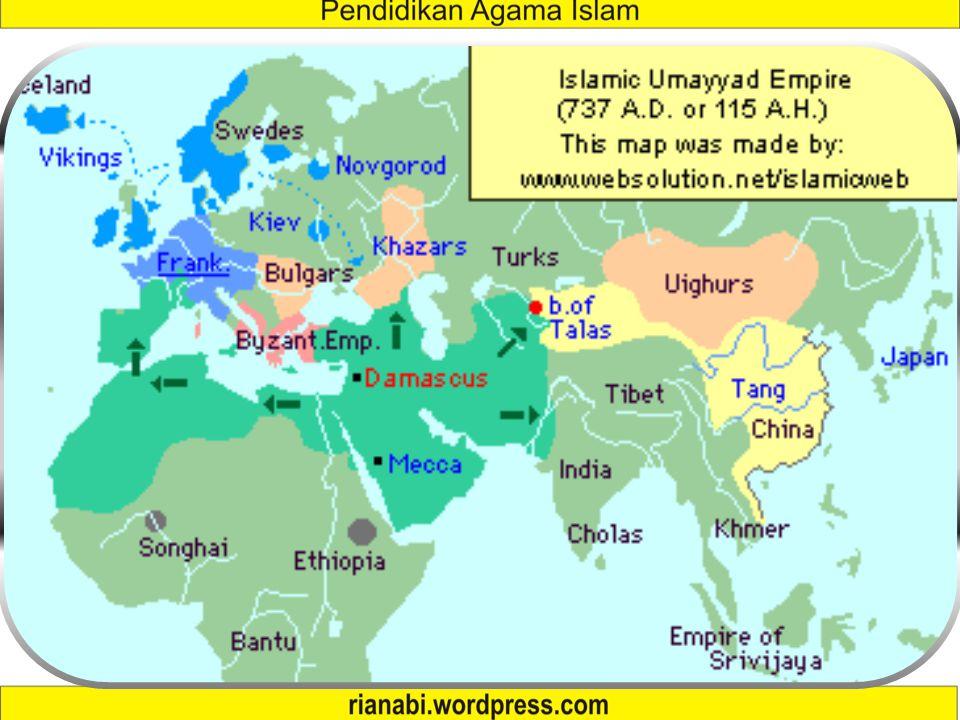 Masa Muawiyah  Ibu kota pemerintahan Islam dipindah dari Madinah ke Damaskus.  Melakukan ekspansi ke Tunisia, Kabul,  Serangan ke Konstantinopel, g