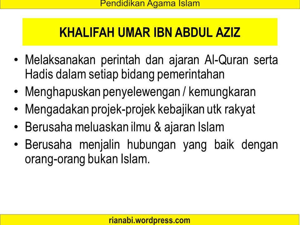 PEMERINTAHAN ABDUL MALIK IBN MARWAN Sebelum menjadi khalifah, Abdul Malik adalah salah seorang dari empat orang ulama Fiqh di Madinah, yang terdiri da
