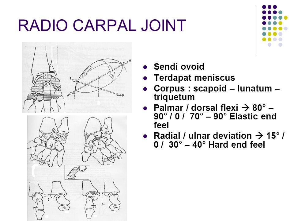 Arthrokinematic-osteokinematic Gerakan: Palmar-Dorsal Flexion serta Ulnar-Radial Deviation.