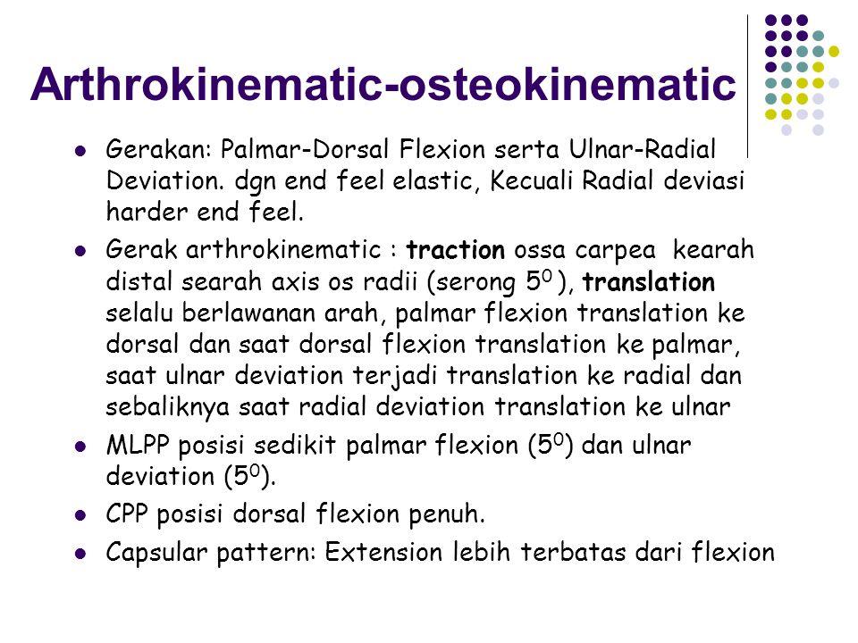 INTERCARPAL JOINT Merupakan satuan sendi tangan Gerak angulasi terutama pada mid carpal Pada saat gerak dorsal dan palmar flexion sangat berperan Struktur sendi Scapoideum, lunatum dan triquetrum merupakan sendi datar yang dihubungkan dengan lig.
