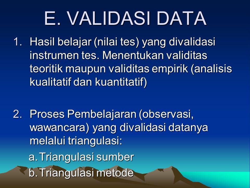 E.VALIDASI DATA 1.Hasil belajar (nilai tes) yang divalidasi instrumen tes.