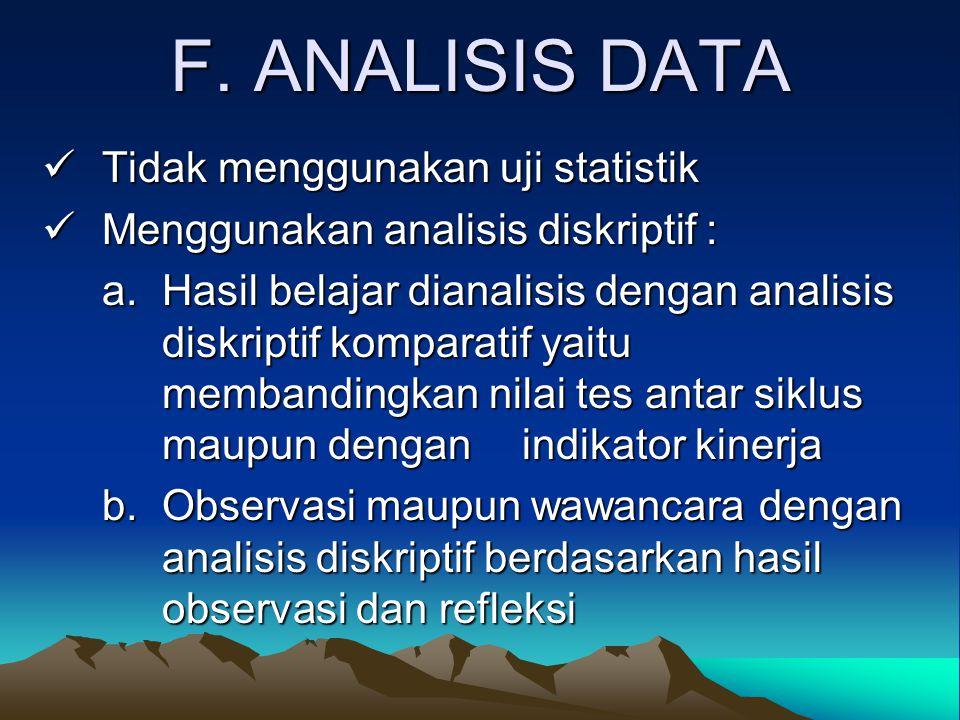 F. ANALISIS DATA Tidak menggunakan uji statistik Tidak menggunakan uji statistik Menggunakan analisis diskriptif : Menggunakan analisis diskriptif : a