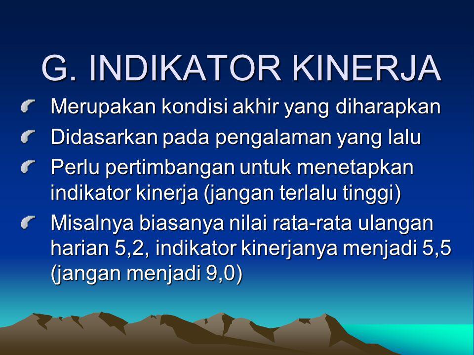 G. INDIKATOR KINERJA Merupakan kondisi akhir yang diharapkan Merupakan kondisi akhir yang diharapkan Didasarkan pada pengalaman yang lalu Didasarkan p