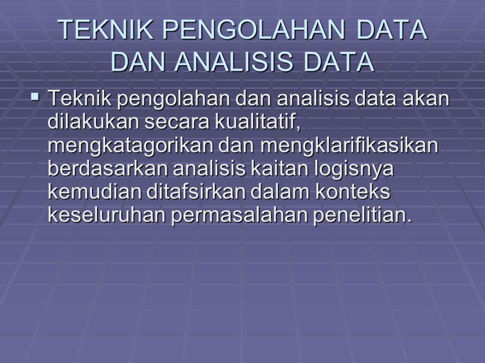 TEKNIK PENGOLAHAN DATA DAN ANALISIS DATA  Teknik pengolahan dan analisis data akan dilakukan secara kualitatif, mengkatagorikan dan mengklarifikasikan berdasarkan analisis kaitan logisnya kemudian ditafsirkan dalam konteks keseluruhan permasalahan penelitian.