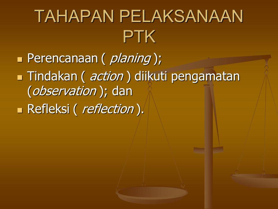 TAHAPAN PELAKSANAAN PTK Perencanaan ( planing ); Perencanaan ( planing ); Tindakan ( action ) diikuti pengamatan (observation ); dan Tindakan ( action ) diikuti pengamatan (observation ); dan Refleksi ( reflection ).