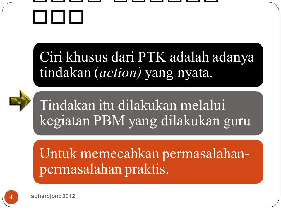 Ciri khusus PTK Ciri khusus dari PTK adalah adanya tindakan (action) yang nyata. Tindakan itu dilakukan melalui kegiatan PBM yang dilakukan guru Untuk