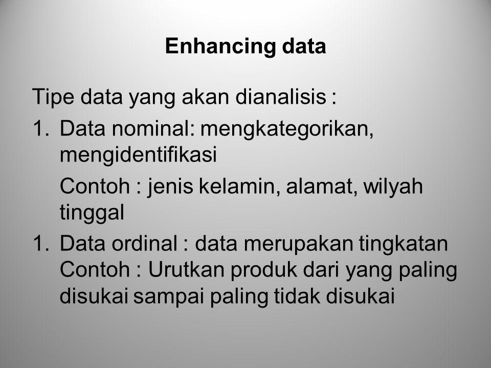 Enhancing data Tipe data yang akan dianalisis : 1.Data nominal: mengkategorikan, mengidentifikasi Contoh : jenis kelamin, alamat, wilyah tinggal 1.Dat