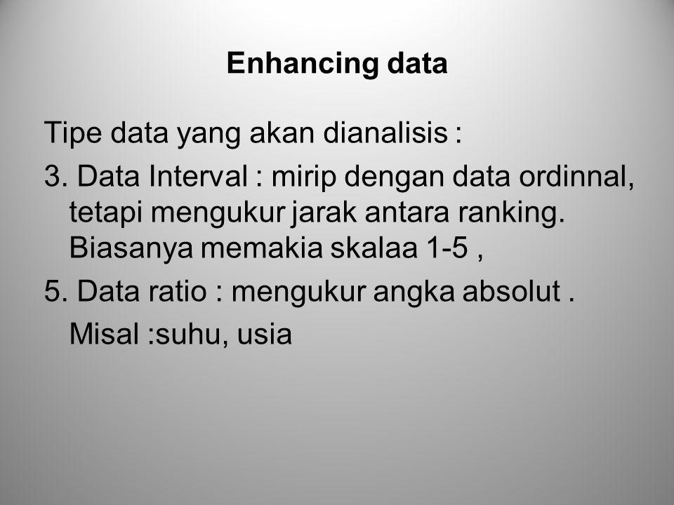 Enhancing data Tipe data yang akan dianalisis : 3. Data Interval : mirip dengan data ordinnal, tetapi mengukur jarak antara ranking. Biasanya memakia