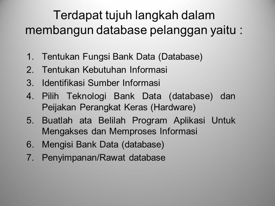 Terdapat tujuh langkah dalam membangun database pelanggan yaitu : 1.Tentukan Fungsi Bank Data (Database) 2.Tentukan Kebutuhan Informasi 3.Identifikasi