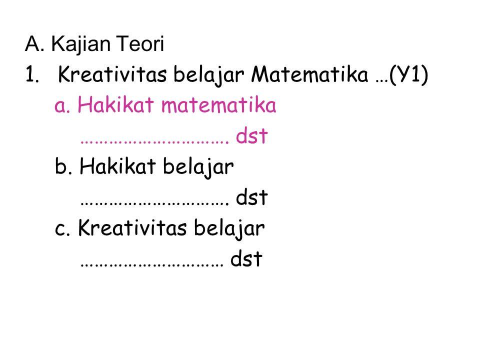 A.Kajian Teori 1.Kreativitas belajar Matematika …(Y1) a.