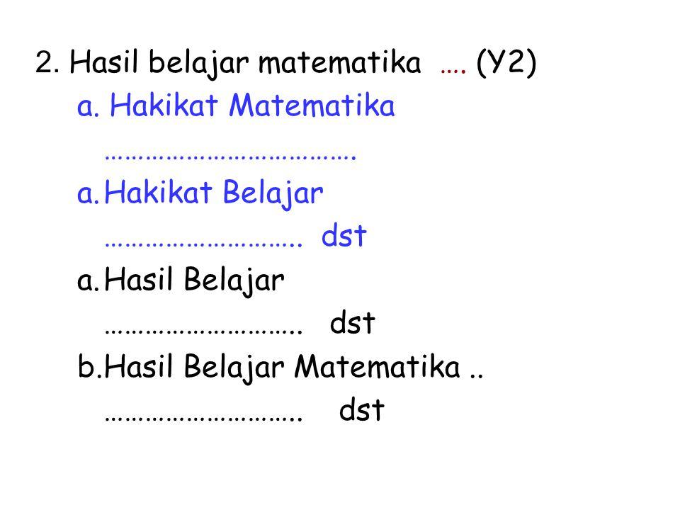 2.Hasil belajar matematika …. (Y2) a. Hakikat Matematika ……………………………….