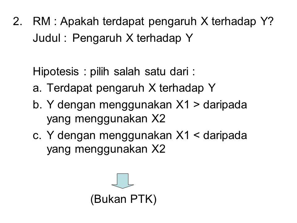 2.RM : Apakah terdapat pengaruh X terhadap Y.