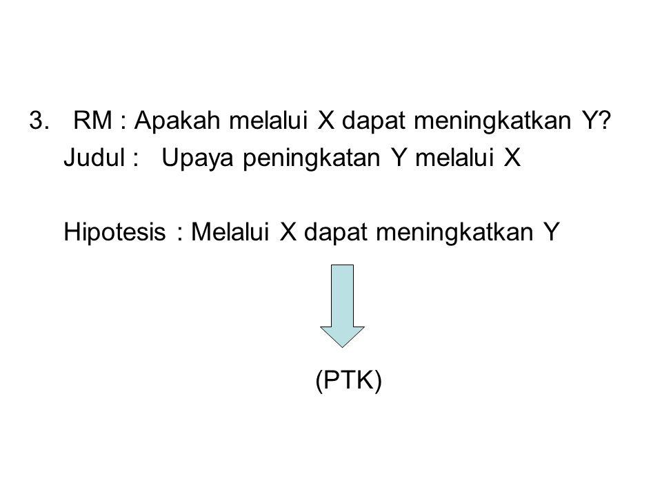 3.RM : Apakah melalui X dapat meningkatkan Y.