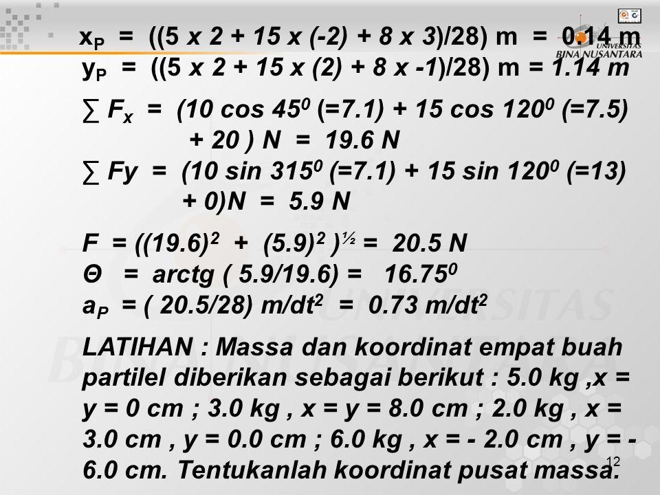 12 x P = ((5 x 2 + 15 x (-2) + 8 x 3)/28) m = 0.14 m y P = ((5 x 2 + 15 x (2) + 8 x -1)/28) m = 1.14 m ∑ F x = (10 cos 45 0 (=7.1) + 15 cos 120 0 (=7.5) + 20 ) N = 19.6 N ∑ Fy = (10 sin 315 0 (=7.1) + 15 sin 120 0 (=13) + 0)N = 5.9 N F = ((19.6) 2 + (5.9) 2 ) ½ = 20.5 N Θ = arctg ( 5.9/19.6) = 16.75 0 a P = ( 20.5/28) m/dt 2 = 0.73 m/dt 2 LATIHAN : Massa dan koordinat empat buah partilel diberikan sebagai berikut : 5.0 kg,x = y = 0 cm ; 3.0 kg, x = y = 8.0 cm ; 2.0 kg, x = 3.0 cm, y = 0.0 cm ; 6.0 kg, x = - 2.0 cm, y = - 6.0 cm.