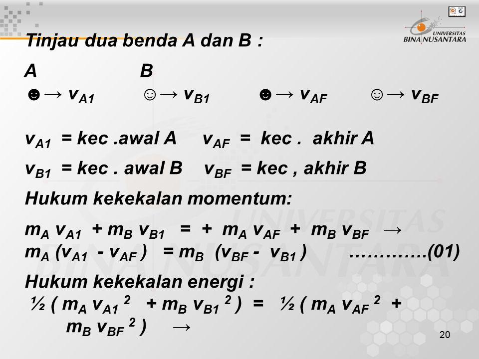20 Tinjau dua benda A dan B : A B ☻→ v A1 ☺→ v B1 ☻→ v AF ☺→ v BF v A1 = kec.awal A v AF = kec. akhir A v B1 = kec. awal B v BF = kec, akhir B Hukum k