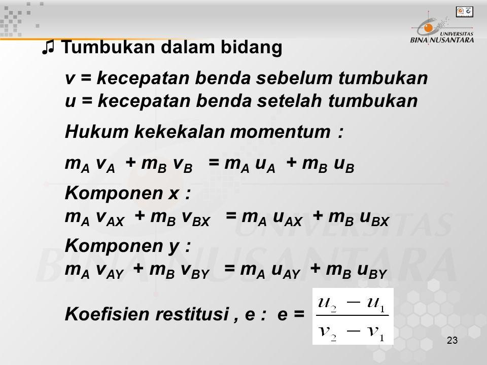 23 ♫ Tumbukan dalam bidang v = kecepatan benda sebelum tumbukan u = kecepatan benda setelah tumbukan Hukum kekekalan momentum : m A v A + m B v B = m A u A + m B u B Komponen x : m A v AX + m B v BX = m A u AX + m B u BX Komponen y : m A v AY + m B v BY = m A u AY + m B u BY Koefisien restitusi, e : e =