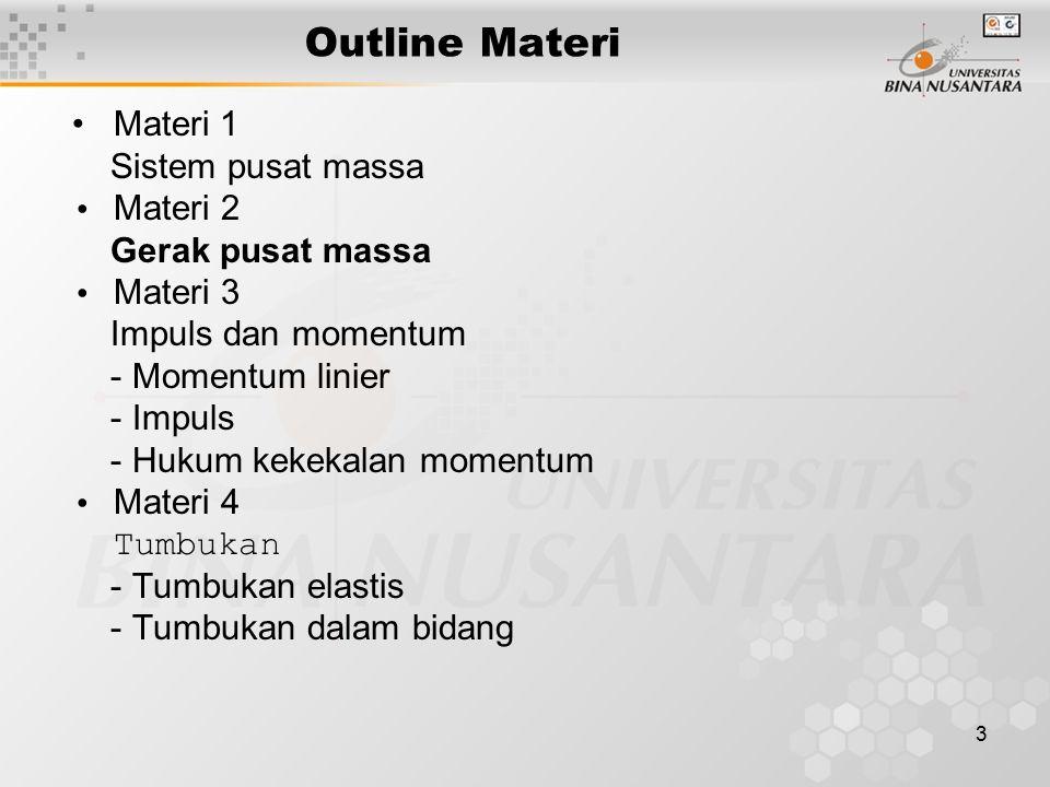 3 Outline Materi Materi 1 Sistem pusat massa Materi 2 Gerak pusat massa Materi 3 Impuls dan momentum - Momentum linier - Impuls - Hukum kekekalan momentum Materi 4 Tumbukan - Tumbukan elastis - Tumbukan dalam bidang