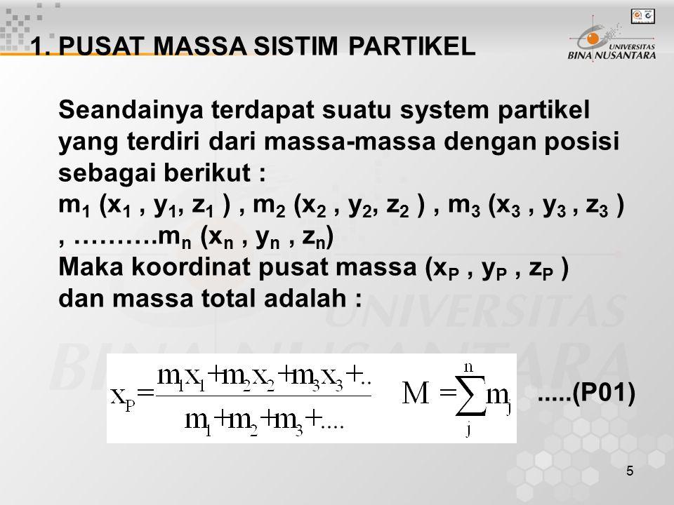 5 1. PUSAT MASSA SISTIM PARTIKEL Seandainya terdapat suatu system partikel yang terdiri dari massa-massa dengan posisi sebagai berikut : m 1 (x 1, y 1