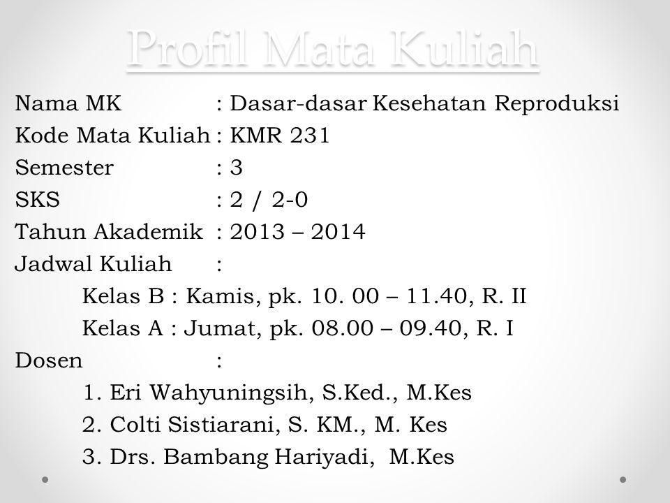 Profil Mata Kuliah Nama MK: Dasar-dasar Kesehatan Reproduksi Kode Mata Kuliah: KMR 231 Semester: 3 SKS: 2 / 2-0 Tahun Akademik: 2013 – 2014 Jadwal Kul