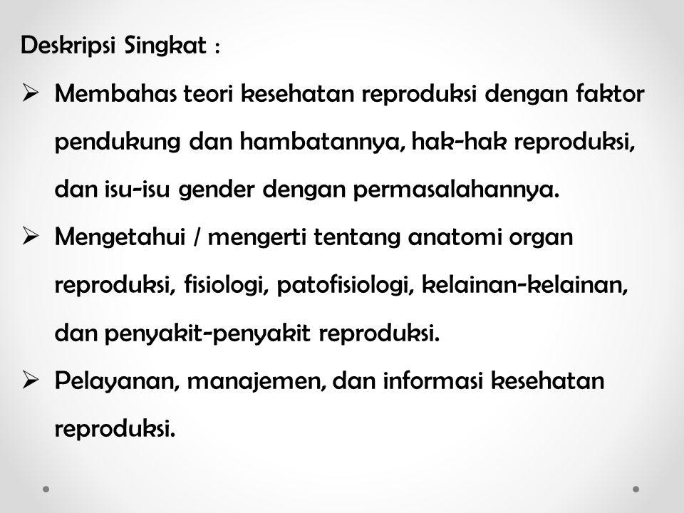 SILABUS Dasar-dasar Kesehatan Reproduksi NoTopikDosenKamis/Jumat 1.Kontrak Pembelajaran & Prinsip Dasar KesproEri5 & 6 Sept 2013 2.Pengantar Kesehatan Reproduksi Eri 12 & 13 Sept 2013 3.Isu-isu Kesehatan Reproduksi Eri 19 & 20 Sept 2013 4.Hak Reproduksi dan Konsep Gender dalam Kespro Eri 26 & 27 Sept 2013 5.KDRT Eri 3 & 4 Okt 2013 6.Aspek Sosial Budaya dalam Kespro Colti 10 & 11 Okt 2013 7.Program dan Kebijakan Kesehatan Reproduksi di Indonesia Colti 17 & 18 Okt 2013 8.UJIAN TENGAH SEMESTER, 21 Okt – 1 Nov 2013TIM 9.Pelayanan Kesehatan Reproduksi Bambang 7 & 8 Nov 2013 10.KIE Kesehatan Reproduksi Bambang 14 & 15 Nov 2013 11.Kesehatan Reproduksi Remaja Bambang 21 & 22 Nov 2013 12.Teori Perkawinan dan Infertilitas Bambang 28 & 29 Nov 2013 13.KB Colti 5 & 6 Des 2013 14.Kesehatan Reproduksi Lansia Colti 12 & 13 Des 2013 15.Gangguan Kesehatan Reproduksi dan Penyakit Degeneratif Colti 19 & 20 Des 2013 16.UJIAN AKHIR SEMESTER, 30 Des 2013 – 10 Jan 2014