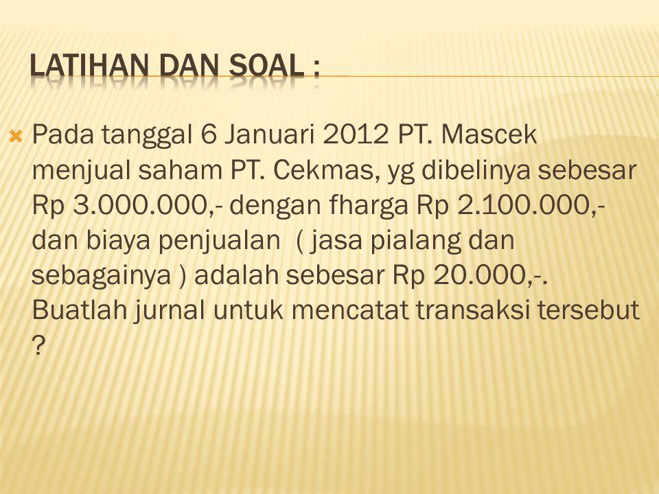  Pada tanggal 6 Januari 2012 PT.Mascek menjual saham PT.