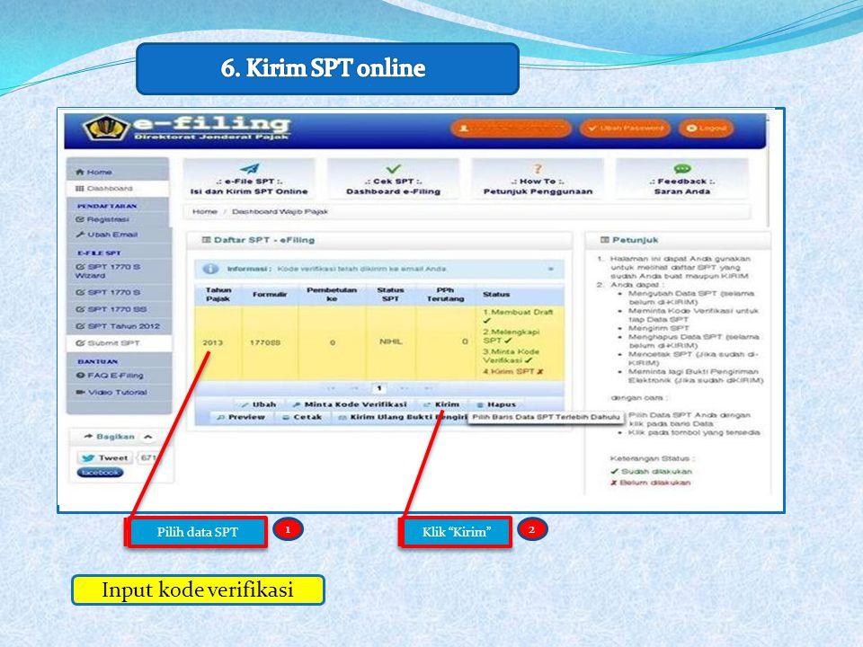 """12 Input kode verifikasi Pilih data SPT Klik """"Kirim"""""""