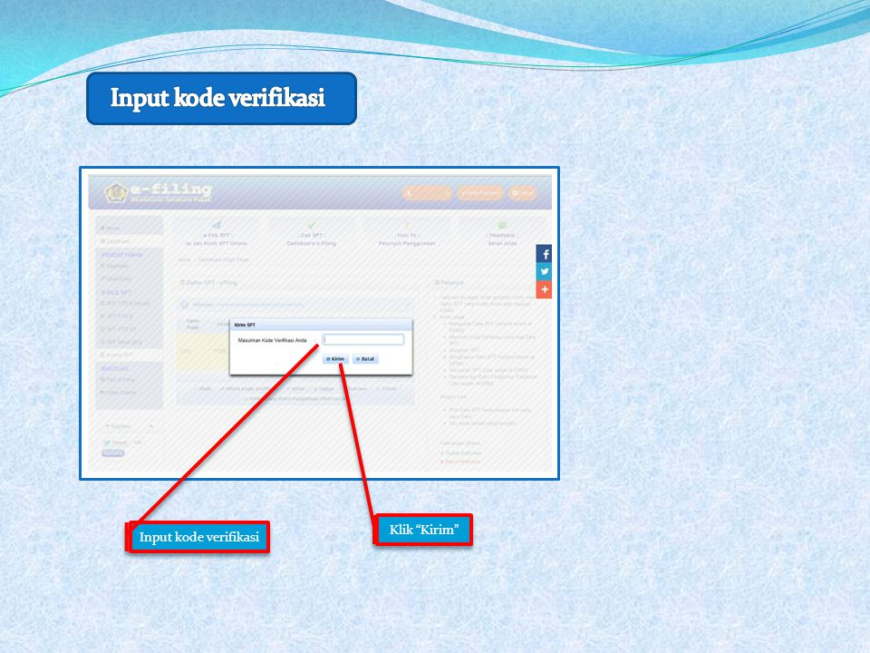 """Input kode verifikasi Klik """"Kirim"""""""