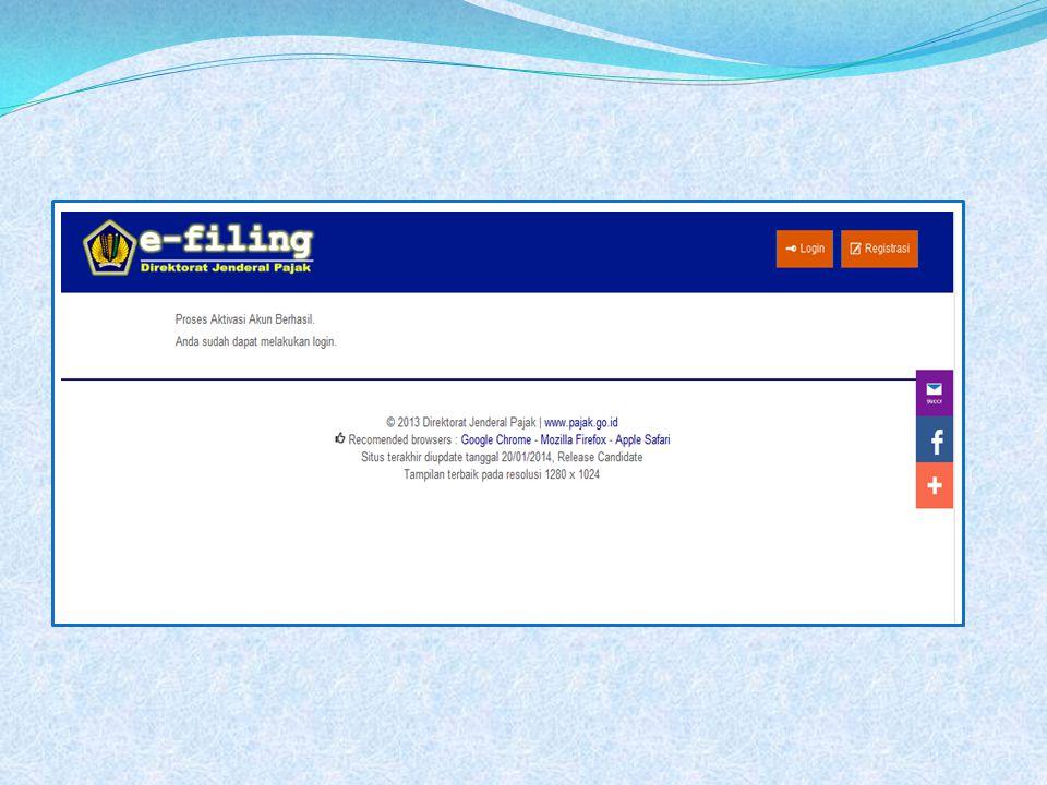 Login eFilling Input NPWP & Kata sandi Klik login
