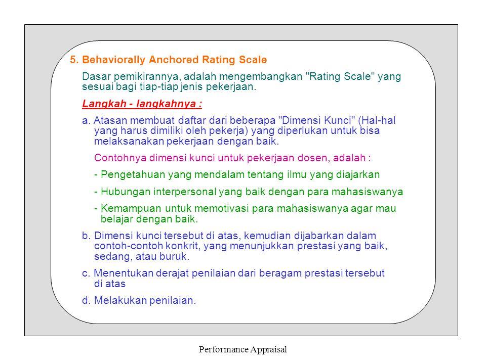 Performance Appraisal 5. Behaviorally Anchored Rating Scale Dasar pemikirannya, adalah mengembangkan