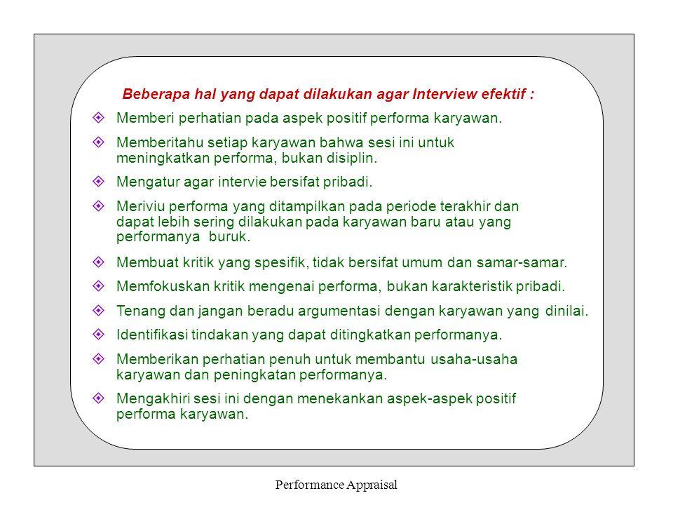 Performance Appraisal 8.
