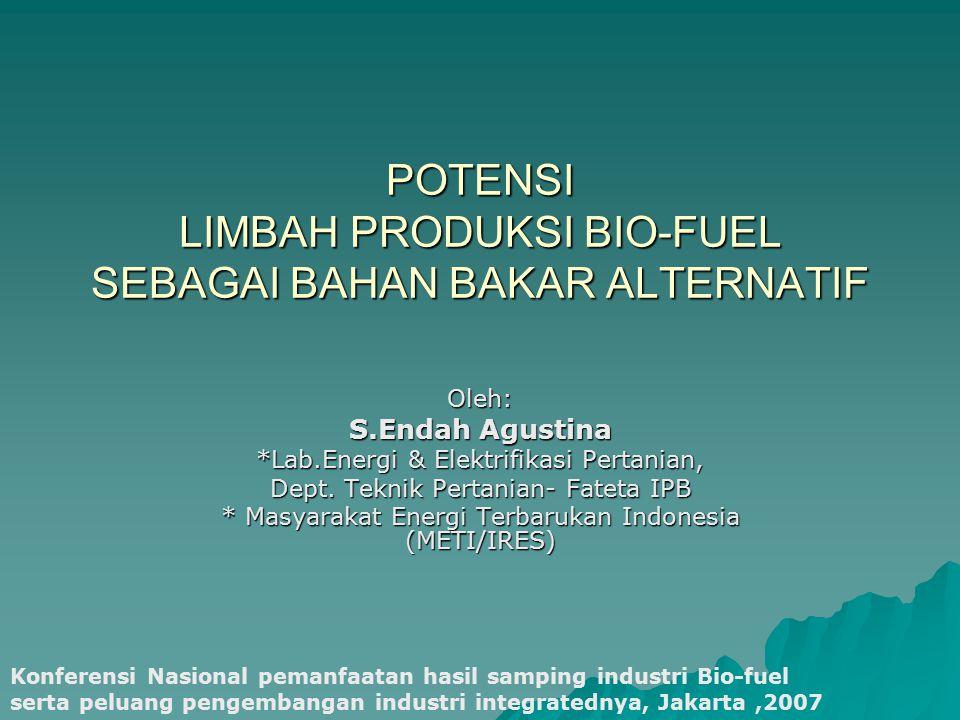 POTENSI LIMBAH PRODUKSI BIO-FUEL SEBAGAI BAHAN BAKAR ALTERNATIF Oleh: S.Endah Agustina *Lab.Energi & Elektrifikasi Pertanian, Dept. Teknik Pertanian-