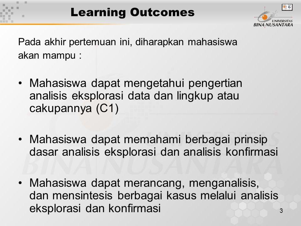 3 Learning Outcomes Pada akhir pertemuan ini, diharapkan mahasiswa akan mampu : Mahasiswa dapat mengetahui pengertian analisis eksplorasi data dan lin