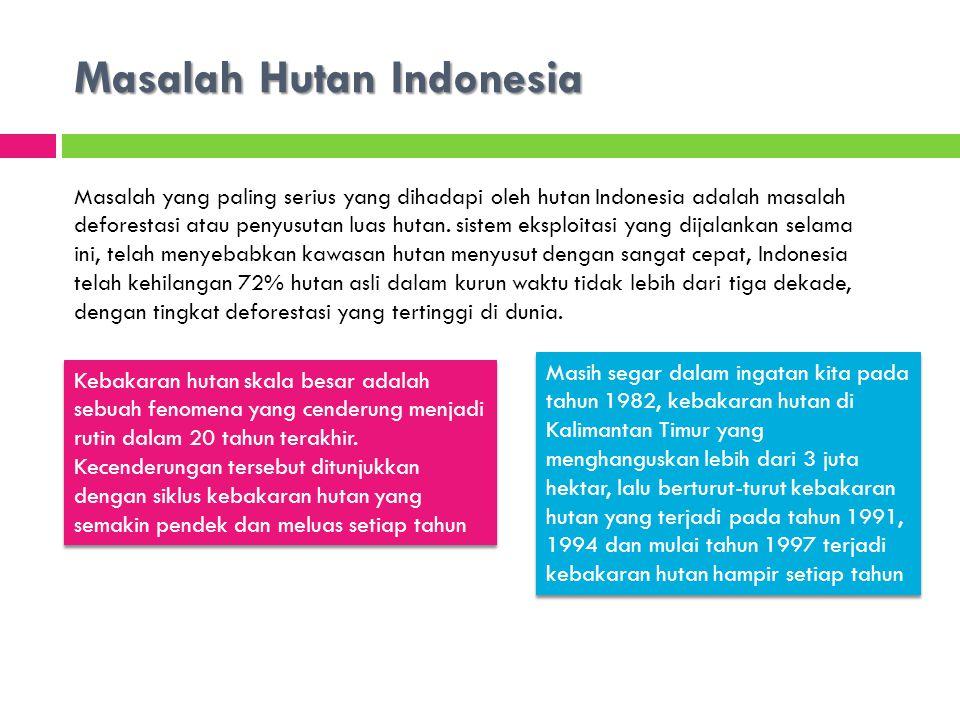 Masalah Hutan Indonesia Masalah yang paling serius yang dihadapi oleh hutan Indonesia adalah masalah deforestasi atau penyusutan luas hutan.