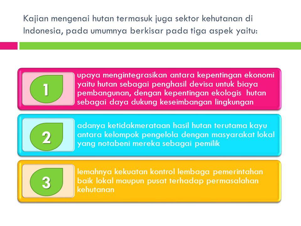 Kajian mengenai hutan termasuk juga sektor kehutanan di Indonesia, pada umumnya berkisar pada tiga aspek yaitu: upaya mengintegrasikan antara kepentingan ekonomi yaitu hutan sebagai penghasil devisa untuk biaya pembangunan, dengan kepentingan ekologis hutan sebagai daya dukung keseimbangan lingkungan adanya ketidakmerataan hasil hutan terutama kayu antara kelompok pengelola dengan masyarakat lokal yang notabeni mereka sebagai pemilik lemahnya kekuatan kontrol lembaga pemerintahan baik lokal maupun pusat terhadap permasalahan kehutanan1 2 3