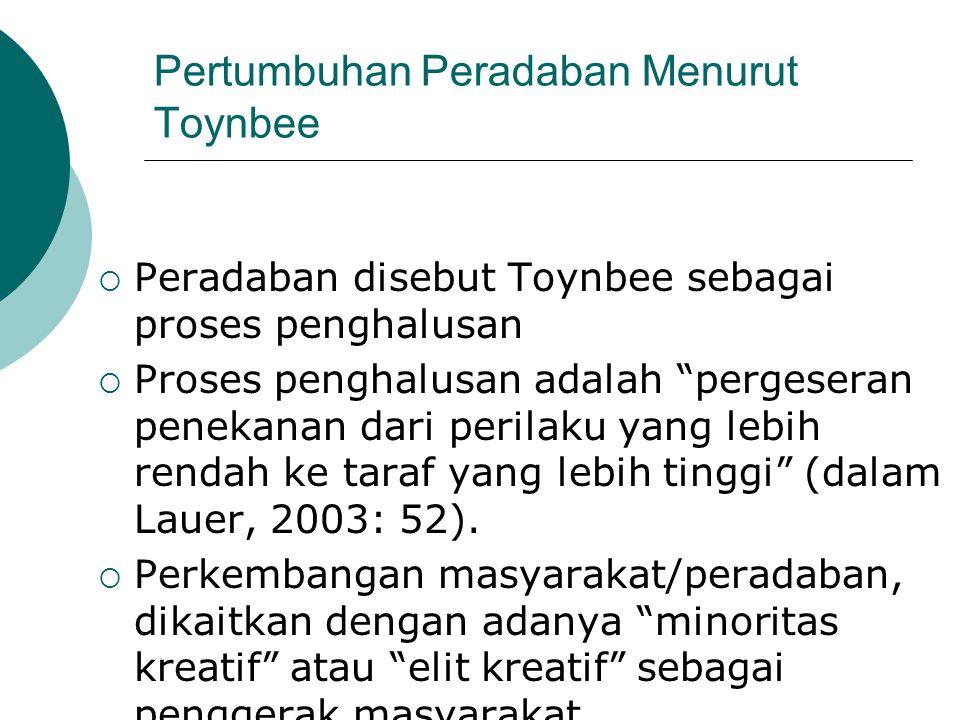 "Pertumbuhan Peradaban Menurut Toynbee  Peradaban disebut Toynbee sebagai proses penghalusan  Proses penghalusan adalah ""pergeseran penekanan dari pe"