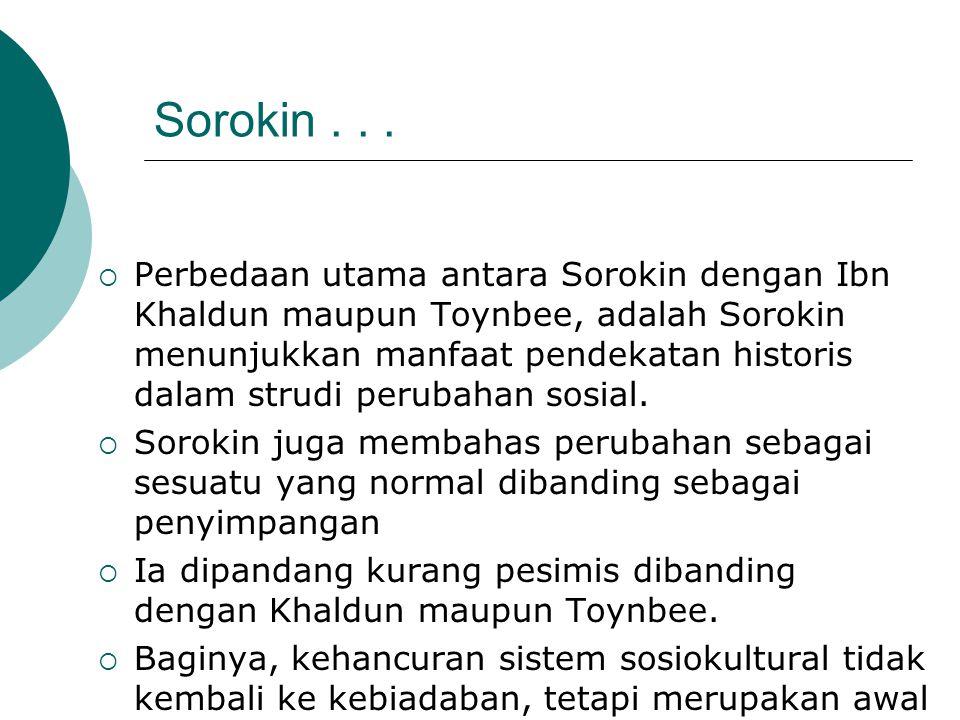 Sorokin...  Perbedaan utama antara Sorokin dengan Ibn Khaldun maupun Toynbee, adalah Sorokin menunjukkan manfaat pendekatan historis dalam strudi per