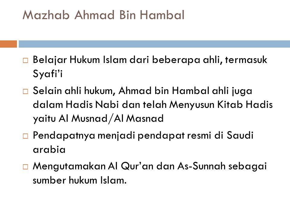  Berkembang di Mesir, Palestina, Muangthai, filipina, malaysia, Indonesia  Sumber hukum yang sering digunakan Al Qur'an, Sunnah, Ijmak, Qiyas, Istis