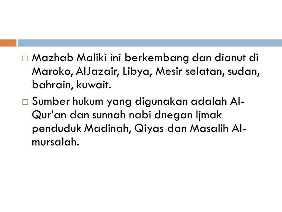 Mazhab Malik Bin Anas  Hidup di Madinah, sehingga banyak menggunakan sunnah, dan dia sendiri adalah pengumpul sunnah Nabi, dengan menyusun kitab Hadi